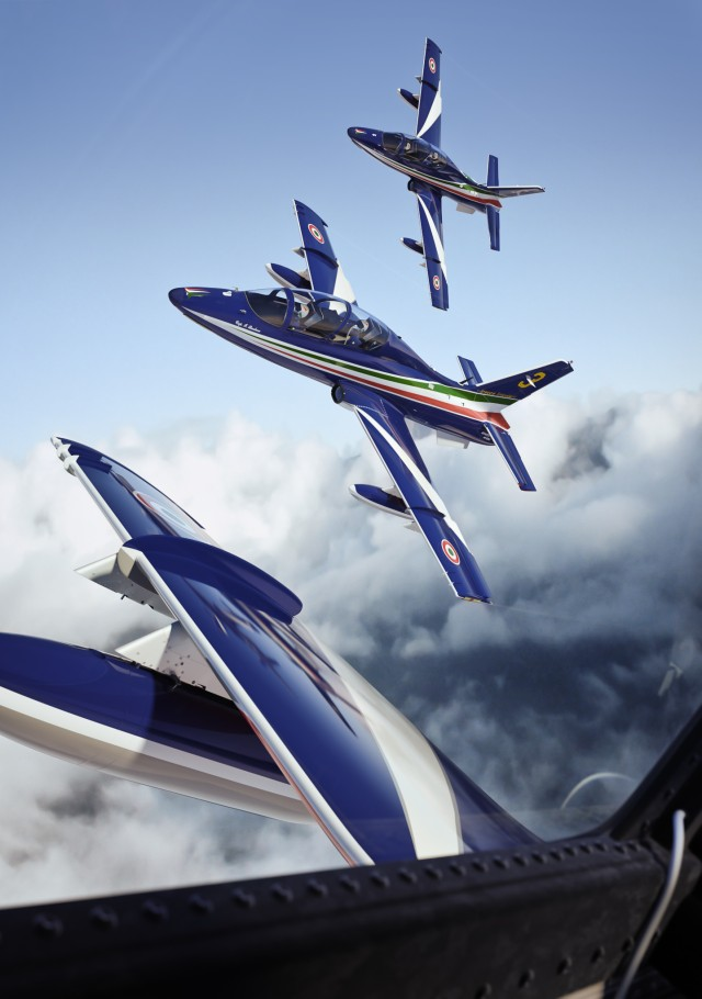 Aircraft of the Frecce Tricolori, the aerobatic display team of the Aeronautica Militare (Aermacchi MB-339-A/PAN)