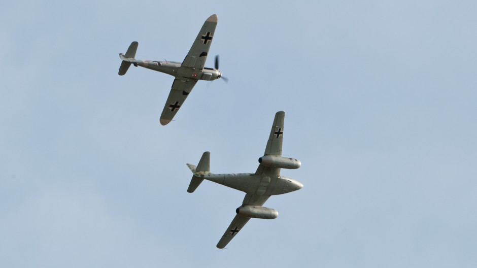 Messerschmitt Me 262 replica and Bf-109