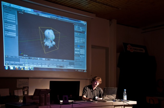 Gottfried Hofmann on BlenderDay 2011, showing smoke simulation