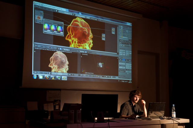 Gottfried Hofmann showing fire in Blender on BlenderDay 2011